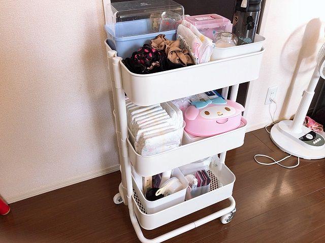 Ikeaのキッチンワゴン ロースコグ は赤ちゃんグッズ収納に超おすすめ