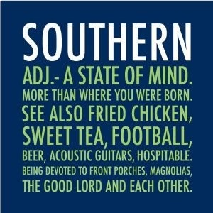 """southern ..."""" true except they don't mention on here that  it's only cool enough for the porch in november -june The low of the day doesn't occur till 4am hence 12am =92 degrees and 90%humidity ...southern born and southern by the Grace God but Lord the humidity lol"""