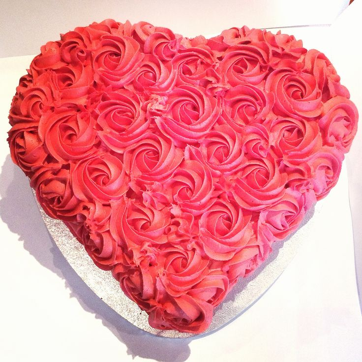 Red love heart shaped cake with rosette piping. Red velvet engagement cake www.sugar-coated.com.au
