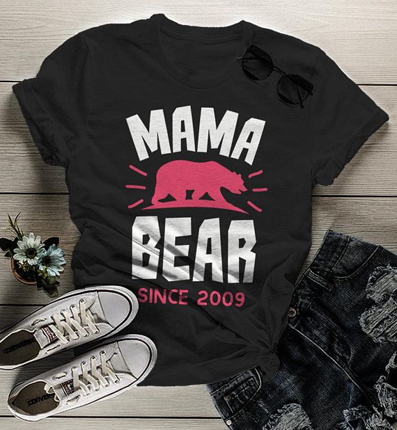 104ffeaace9 Women s Personalized Mama Bear T Shirt Mom Since Shirts Custom Graphic Tee  Mother s Day