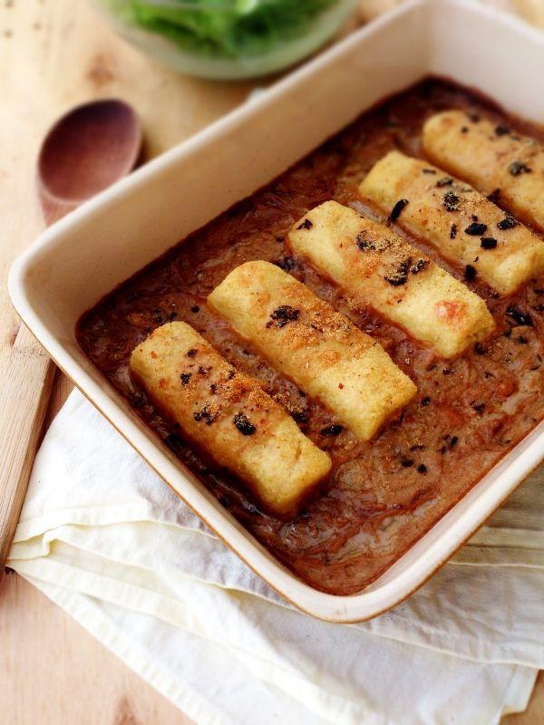 quenelles de semoule de blé maison et leur sauce cèpe et vin blanc