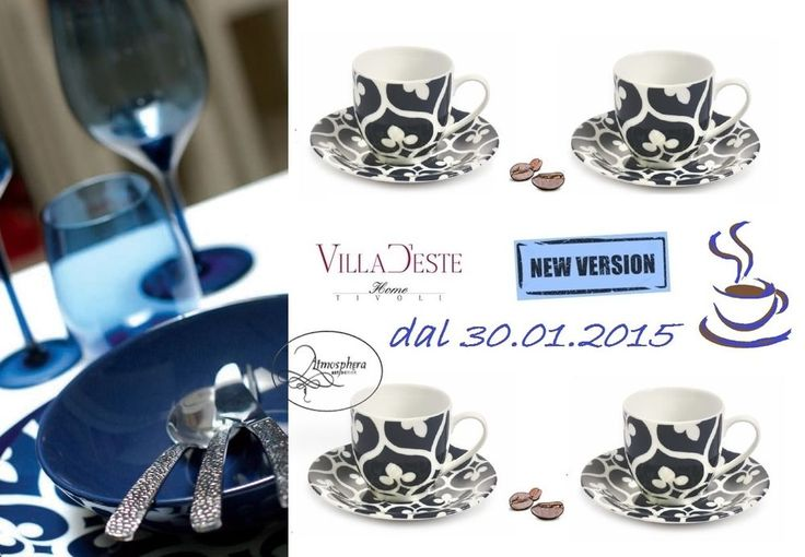 VILLA D ESTE Set 4 tazzine da caffè con piattino Mandala Blu - New Version 2015
