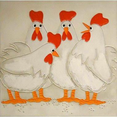 Schilderij vier kippen acryl 60x60cm