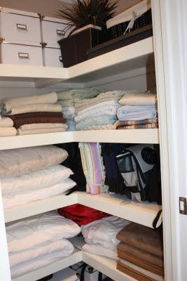 Instead of deep shelves across the entire width of the closet, install C-shelves (use template in family handyman magazine) to almost double your visible shelf space.