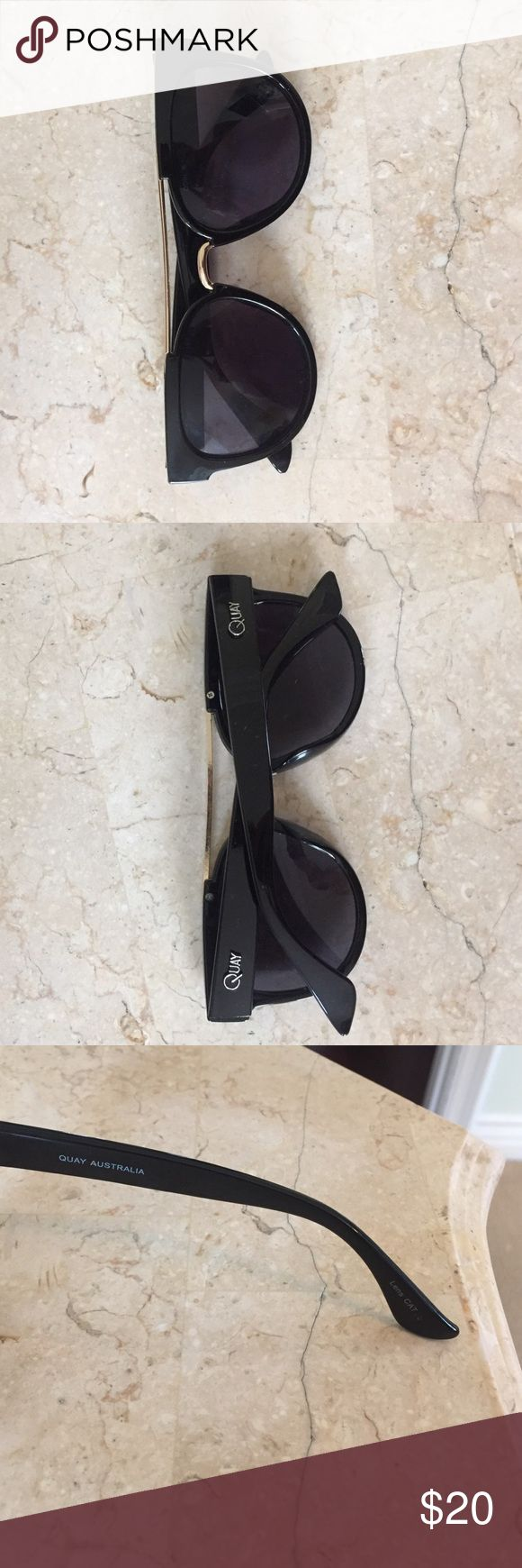 Black sunnies ✨ From Australia 🇦🇺✨These sleek sunnies feature matte plastic frames with a metal double bridge and molded nose bridge. Polycarbonate and Metal Frame. Polycarbonate Lens. Stainless Steel Hinges. 100% UV protection. Width: 140mm. Height: 45mm. Nose Gap: 10mm. Quay Australia Accessories Sunglasses