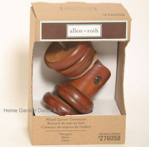 allen roth mahogany wood corner window curtain drape drapery rod connector