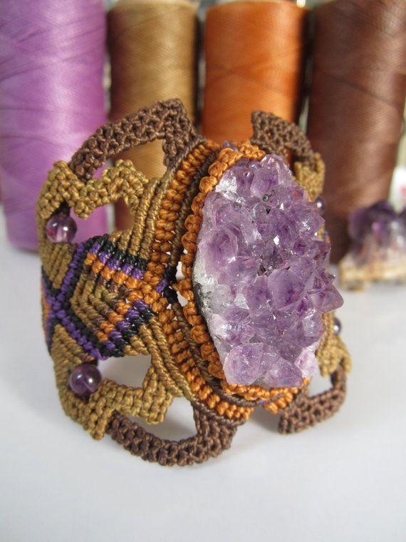 Rough Amethyst Macrame Bracelet Creation by PapachoCreations, $80.00