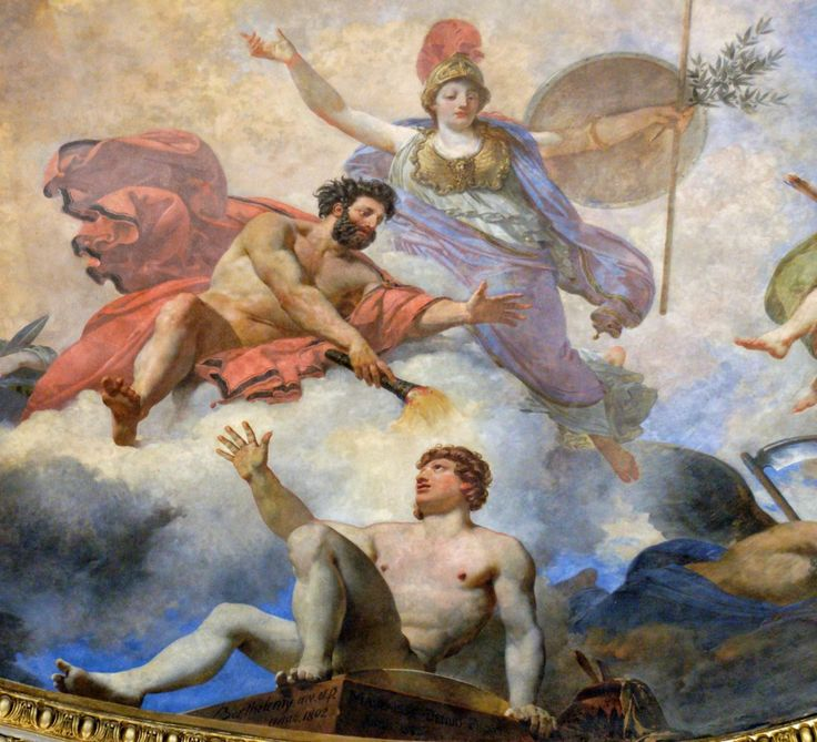 Jean-Simon Berthelemy - Prometheus creating man with Minerva watching.
