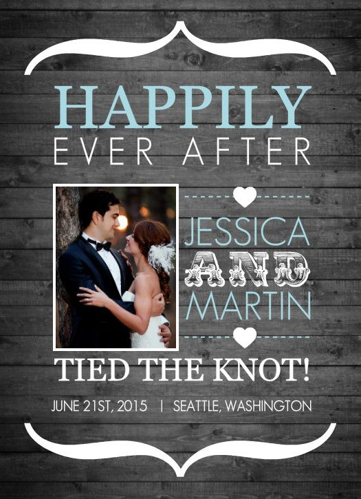 Rustic Wood Grain And Blue Wedding Announcement by PurpleTrail.com