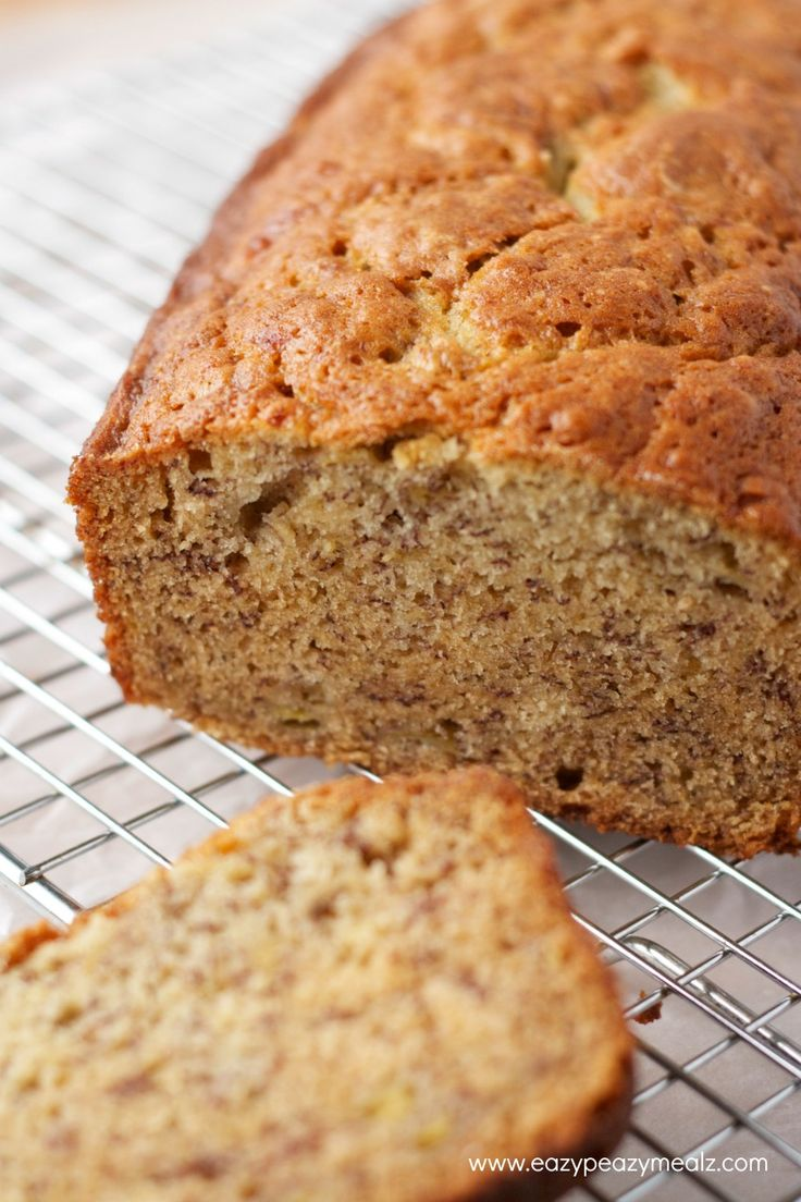 Banana Bread - makes two small loaves or one big one. Used my homemade gluten free flour blend (5 oz each of white rice, brown rice, and tapioca flour, 4oz sweet rice flour, 1/2 tsp xantham gum)