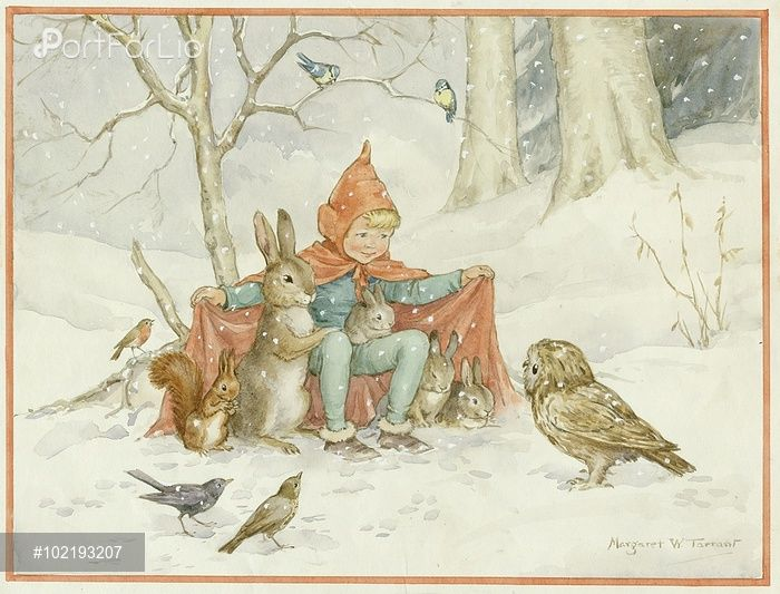 'There's Room For You' - Pixie with rabbits, squirrel and birds. Christmas card.