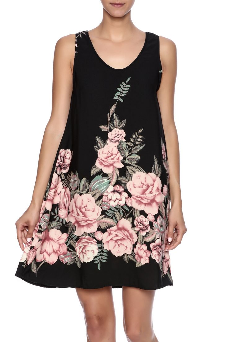 Floral print shift dress featuring a scoop neck and low scoop back with crisscross detail.  Floral Shift Dress by Blvd. Clothing - Dresses - Casual Clothing - Dresses - Floral Idaho