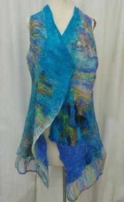 Summery Blue/Green Striped Nuno Felted Vest 2013