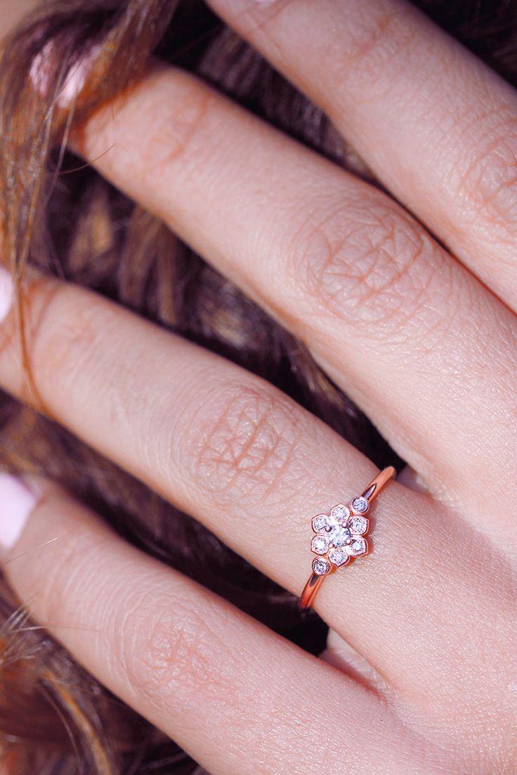5d0098e32 Dainty Flower Diamond Ring - Tiny lily flower diamond ring - promise ring  rose gold silly shiny diamonds