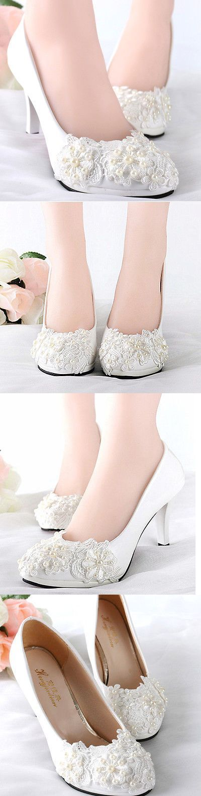 Wedding Shoes And Bridal Shoes: White Lace Pearls Wedding Shoes Bridal Flats Low High Heels Pumps Size 5-12 BUY IT NOW ONLY: $35.99
