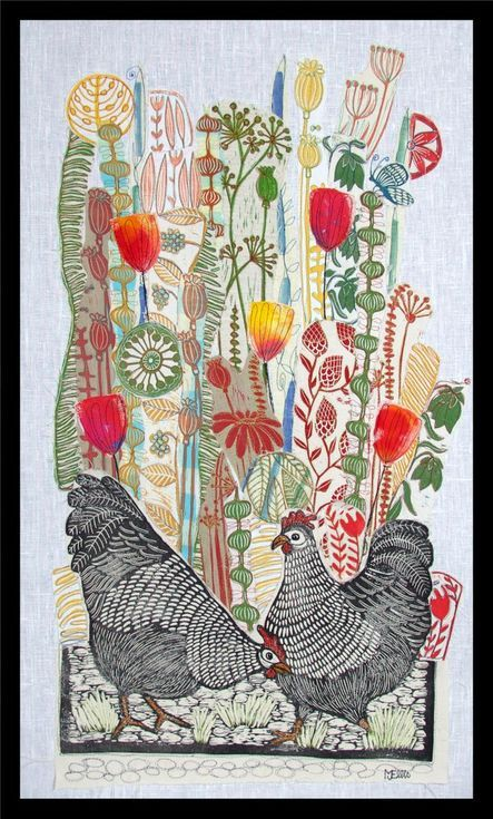 Buy Two Black Hens, XL linocut, textile collage with embroidery, Linocut by Mariann Johansen-Ellis on Artfinder. Discover thousands of other original paintings, prints, sculptures and photography from independent artists.