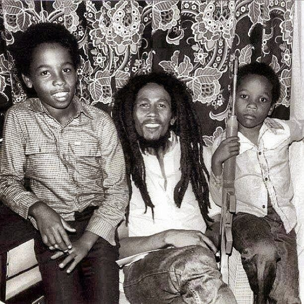 Ziggy Marley and Stephen Marley in Zimbabwe with their father.