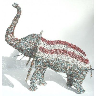 South African bead sculpture | ... BEADED WIRE ELEPHANT - Art handmade in South Africa - Beaded sculpture