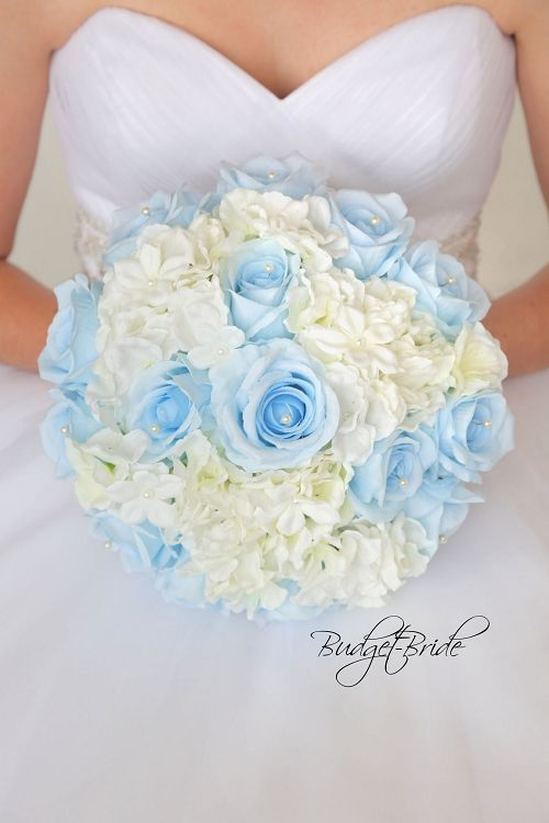 Capri Ice Blue and Ivory Davids Bridal Wedding Bouquet with Capri roses with pearls and ivory hydrangea perfect for a Vintage Theme Wedding