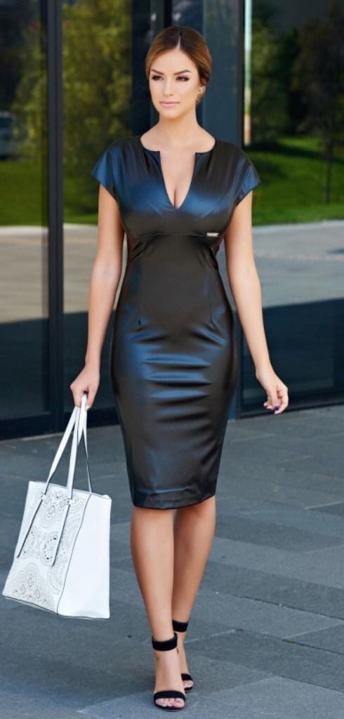 a23f8774516f02 Shopping in shimmering black Wet Look Dress