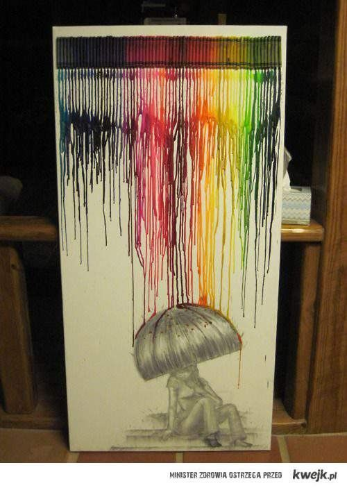 .Melted Crayons Art, Umbrellas, Colors, Rainbows, Canvas, Crayons Projects, Art Projects, Crafts, Crayon Art