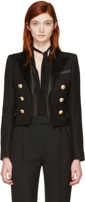 Balmain Black Classic Cropped Blazer