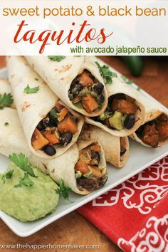 Sweet Potato and Black Bean Taquitos Recipe with Avocado Jalapeño Sauce