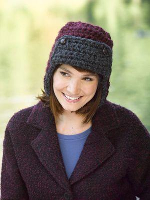 Free Crochet Pattern Aviator Earflap Cap Lion Brand® Wool-Ease® Thick & Quick®