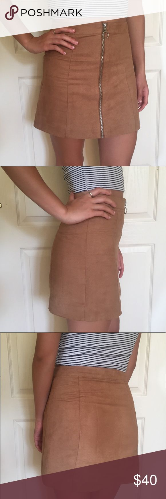 Faux suede camel zip skirt Great condition • so flattering • camel faux suede zip up skirt with zip detail • great quality • would fit size 25-26 imo • not Brandy, from h&m • cheaper on merc Brandy Melville Skirts Mini