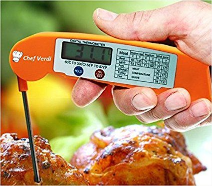 ORANGE HI-VIZ - NEVER LOSE YOUR BBQ MEAT THERMOMETER OUTDOORS AGAIN! - Instant Read Digital Meat Thermometer  ideal for Grilling, Barbecue, BQQ, Candy, & Milk. Super Fast Cooking Thermometer Best for Food, Kitchen and Grill. Stainless Probe, LCD Screen, Electronic.