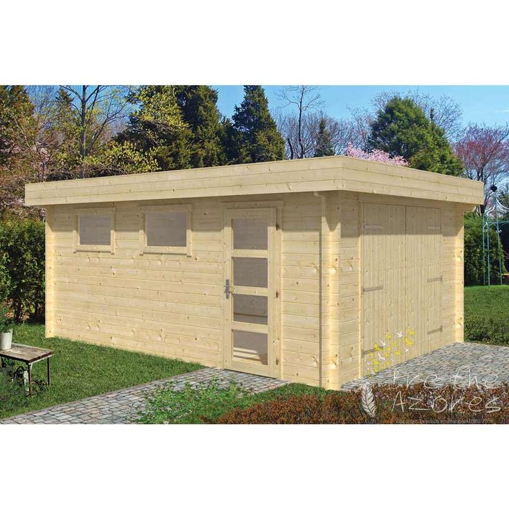 MARKETTA Modern Log Garage with Pent Roof  The Marketta Modern Log Garage is a contemporary flat roof Log Garage measuring 3.80 meters x 5.36 meters and is suitable for one vehicle.  The Marketta Modern Log Garage has wide double doors, a single fully glazed door to the side and two opening windows. The windows and door can be positioned on either the right-hand side or left-hand side of the building as required.