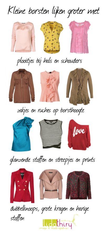 Zo lijken kleine borsten groter. Klik voor meer tips |www.lidathiry.nl| #KleineBorsten #kledingtip