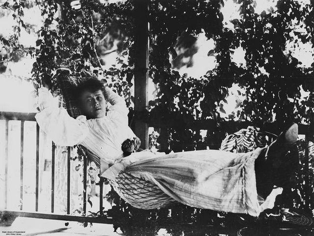 Woman in a hammock on the verandah, Fraser Island, Queensland, ca. 1895 #fraserisland #queensland #summer #hammock #vintage #history #1890s
