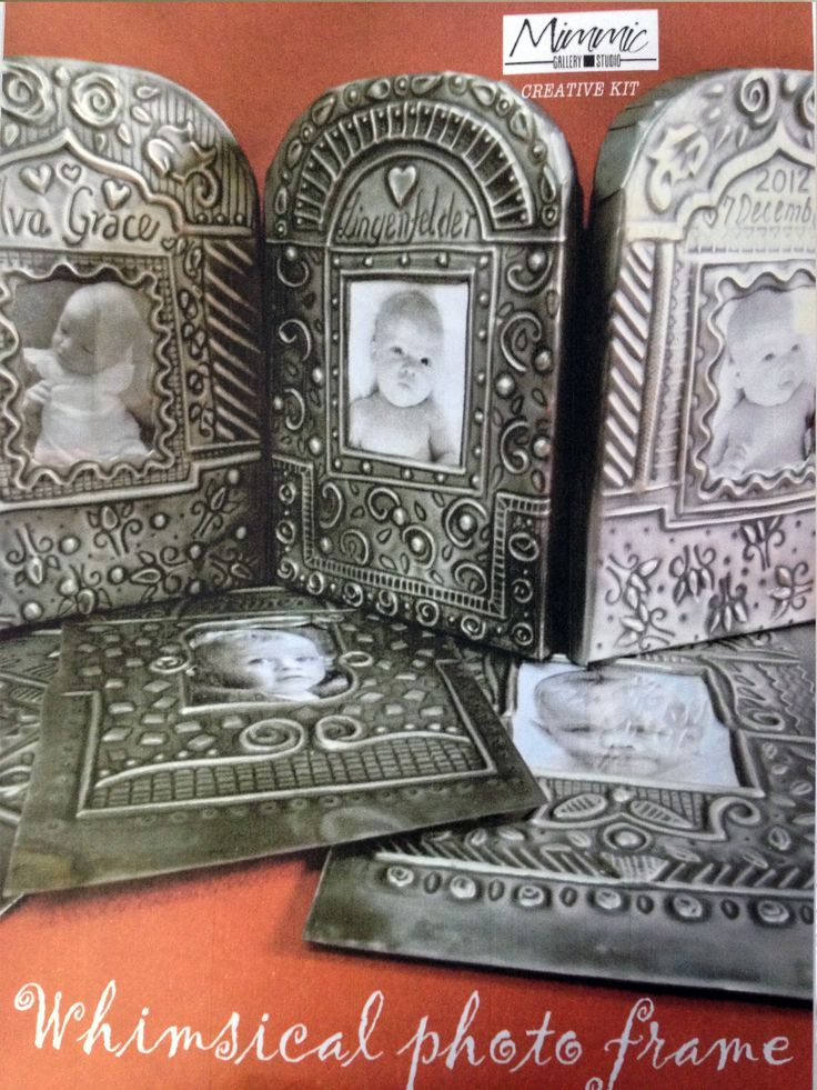 Paper mache and pewter whimsical photo frames in kit form from Mimmic Gallery and Studio