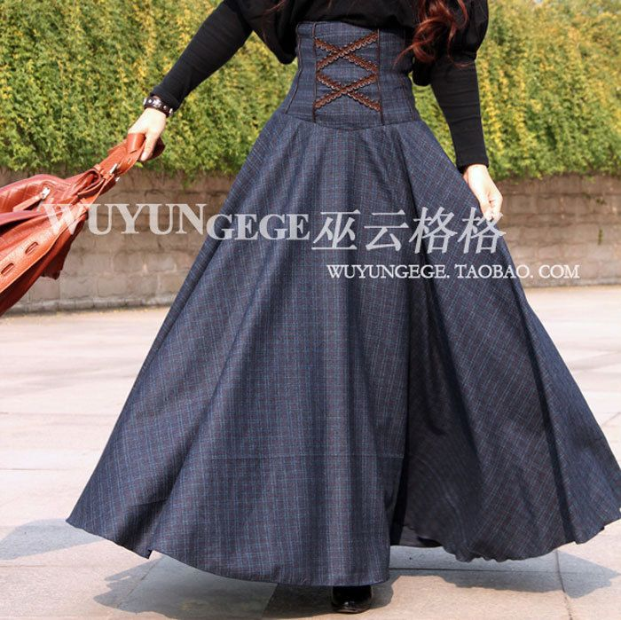 2013 autumn winter retro dark blue wool plaid dirt black high elastic waist long skirts women plus size floor length MAXI skirt US $124.40