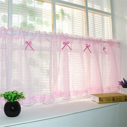 Coffee color short curtain tulle semi-shade kitchen cabinet Pink