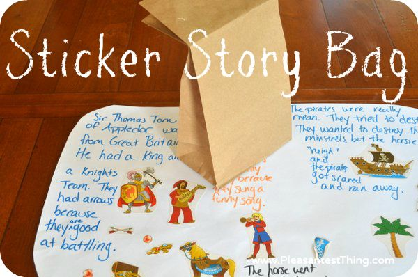 Creating stories with a sticker grab bag.