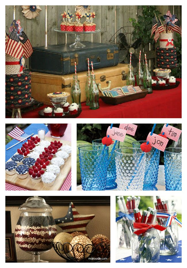 4th of july red white and blue table setting ideas for