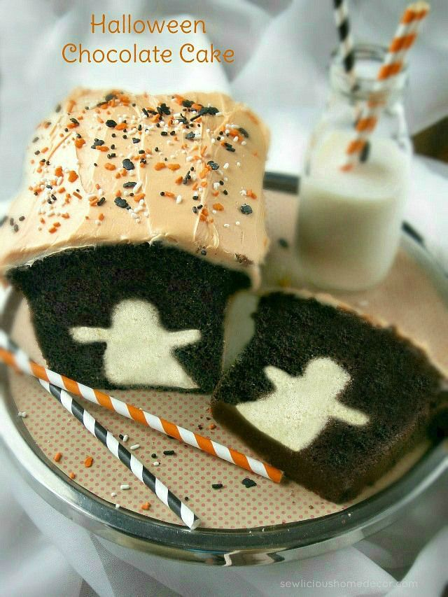 Spooky Halloween Ghost Chocolate Cake at sewlicioushomedecor.com