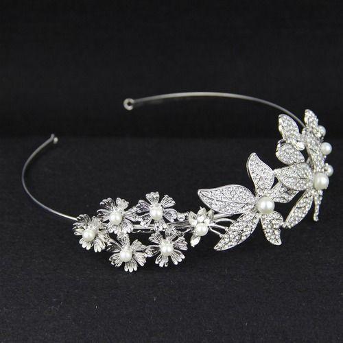 Flower Rhinestone Bridal Headband With Pearls Boho Crystal Butterfly Flora Bridal Headpiece
