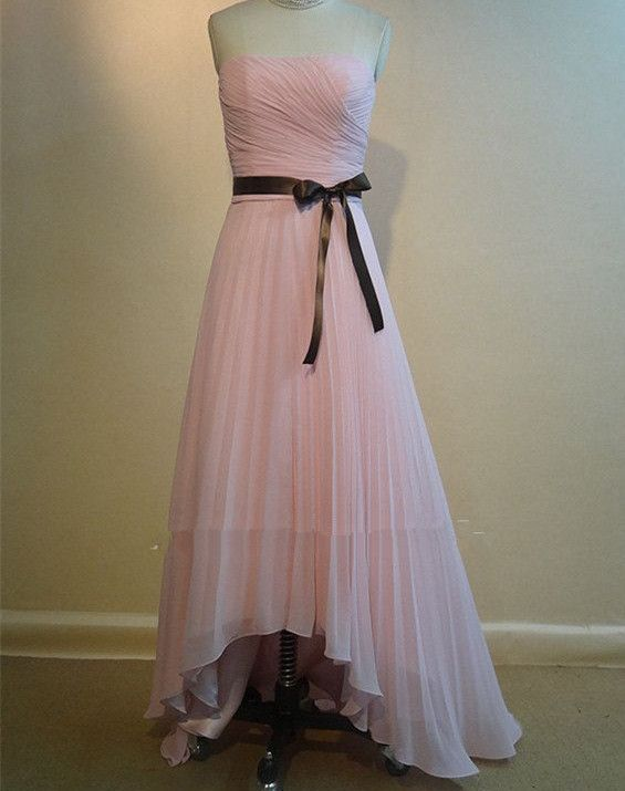 Pretty Handmade Asymmetrical Pink Chiffon Prom Dresses, Pink Bridesmaid Dresses