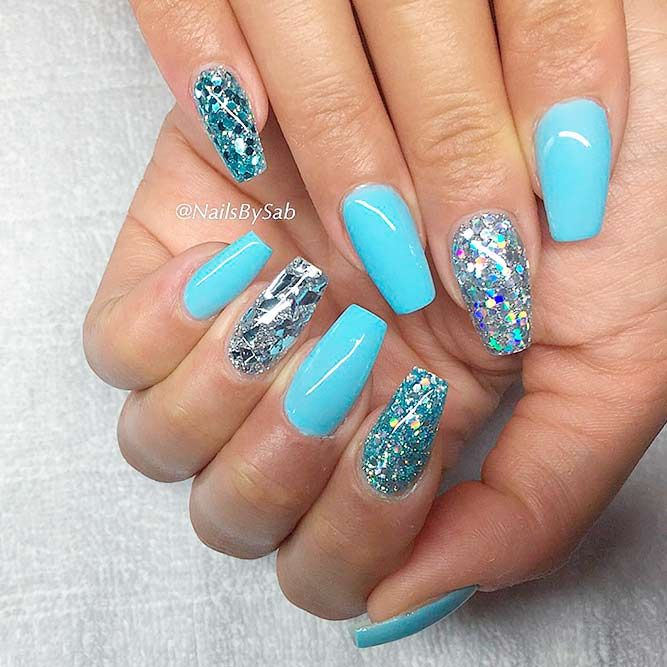 Hot Color Shades To Stay Fashionable With Ballerina Nails Sweet Baby Blue Picture