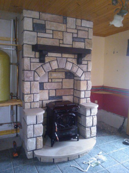 39 best cool fireplaces images on pinterest fireplace for Fireplace half stone