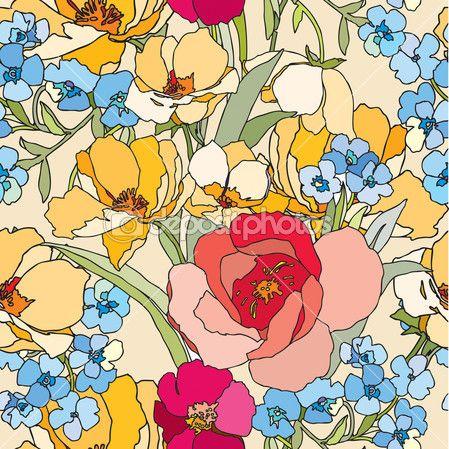 Бесшовный узор элегантность с цветы розы — Stock Illustration #19361343