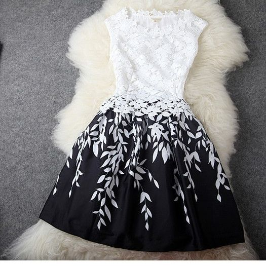 Lace is always fashion trend and popular by girls and ladies. This dress is made with lace is so fashion and cool. Highlight with the crochet hollow out on top and leaves pattern print on skit, make i