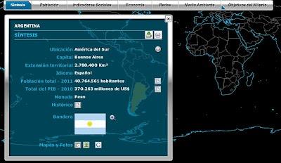 Países, mapa mundial interactivo delInstituto Brasileño de Geografía y Estadística IBGEquesuministra informaciones estadísticas sobre todos los países del mundo, agrupadas en 8 temas principales:  Síntesis, Población, Indicadores Sociales, Economía, Redes, Medio Ambiente  y Objetivos del Milenio.