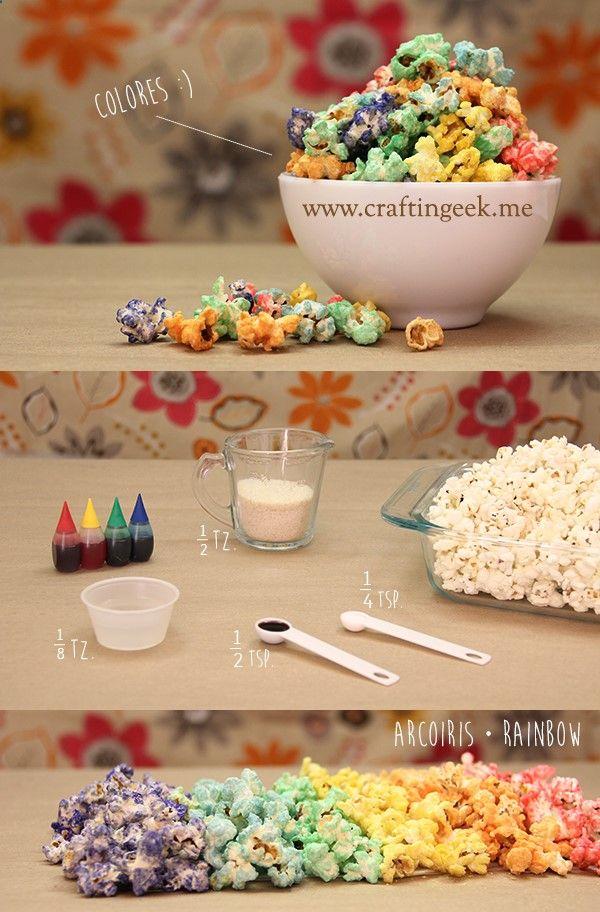 ¿Te digo el secreto para pintar palomitas de todos los colores del arcoiris? La receta es con caramelo y quedan deliciosas para una buena noche de peliculas. #rainbow #popcorn