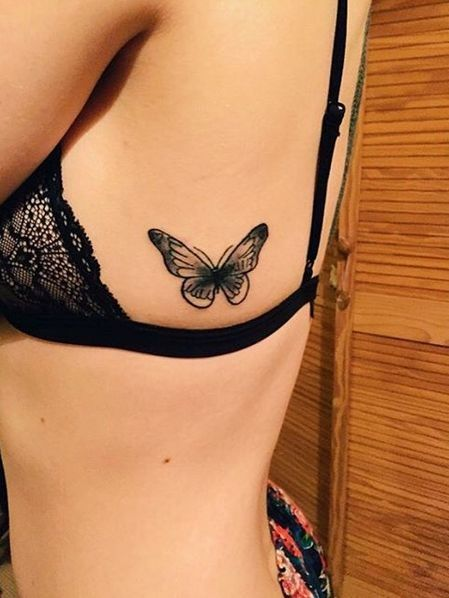 Black Side Tattoo Butterfly with Roman Numerals                                                                                                                                                                                 More