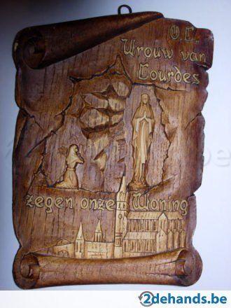 Houten Lourdes spreuk: O.L.Vrouw van Lourdes zegen onze woning, 13cm x 13cm. Made in France. Handgemaakt Verzendingskosten ten lasten van de koper