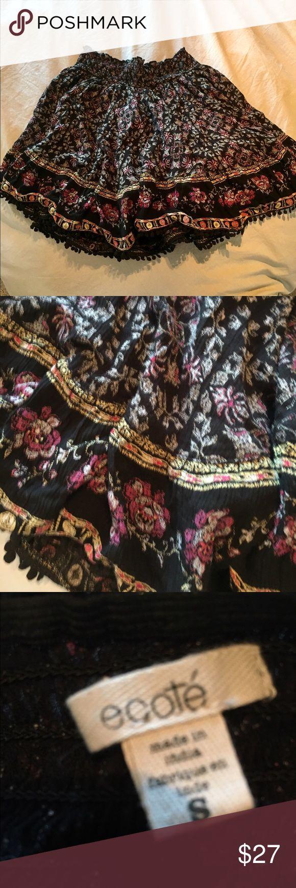 Boho festival skirt black and floral Festival skirt BoHo! Black with small floral and pom-pom fringe 💕 never worn Ecote Skirts Mini